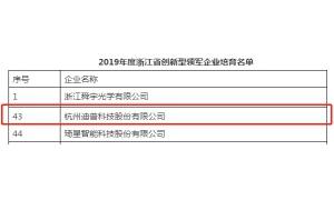 迪普科技入选2019年度浙江省创新型领军企业培育