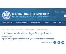 美国联邦贸易委员会再战 Facebook,提起新一轮反